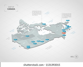 Isometric  3D Canada map. Stylized vector map illustration with cities, borders, capital Ottawa , administrative divisions and pointer marks; gradient background with grid.