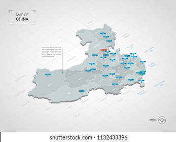 Isometric  3D China map. Stylized vector map illustration with cities, borders, capital Beijing , administrative divisions and pointer marks; gradient background with grid.