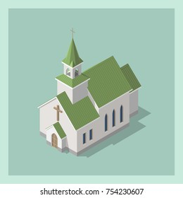 Isometric 3d Christian Catholic Church Building. Vector illustration. Architectural concept. Isolated model in flat, cartoon style. Can be used for wedding cards, game, web design.