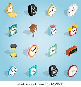 Isometric 3d clock icons set. Illustration of clock icons vector for web. Alarm time logos on blue background