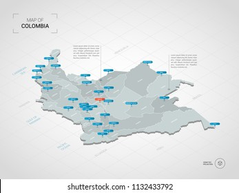 Isometric  3D Colombia map. Stylized vector map illustration with cities, borders, capital Bogotá , administrative divisions and pointer marks; gradient background with grid.