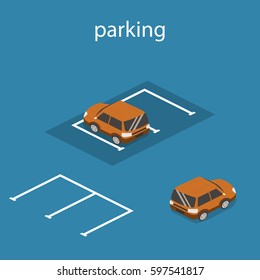 Isometric 3D concept vector illustration front and rear of the car in the parking. Urban transport.