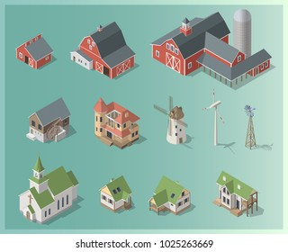 Isometric 3d cottage, farm, mill set, rural building collection. Icon. Architecture real estate, property, agriculture, vector illustration. Isolated models in flat, cartoon style. Advertisement, game