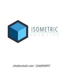 Isometric 3d cube logo design. Stock Vector illustration isolated on white background.
