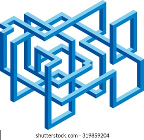 Isometric 3D cubical blue shape for construction company branding