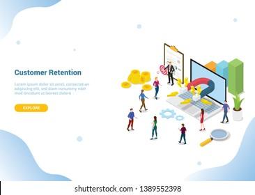 isometric 3d customer retention marketing concept for website template landing homepage banner - vector illustration