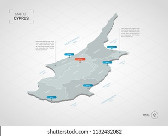 Isometric  3D Cyprus map. Stylized vector map illustration with cities, borders, capital Nicosia , administrative divisions and pointer marks; gradient background with grid.