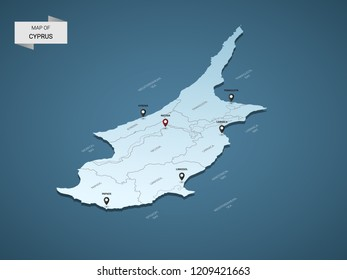 Isometric 3D Cyprus map,  vector illustration with cities, borders, capital, administrative divisions and pointer marks; gradient blue background.  Concept for infographic.