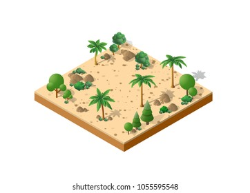 Isometric 3D desert park with palm trees of a three-dimensional city