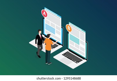isometric 3d design ab a b split testing concept with two business men compare test result between 2 page of website design comparison - vector illustration