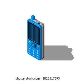Isometric 3D Device Old Push Button Telephone Equipment Appliances Connection Element Vector Design Style