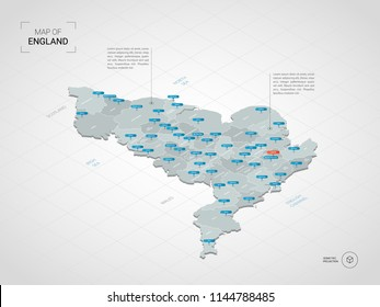 Isometric  3D England map. Stylized vector map illustration with cities, borders, capital London , administrative divisions and pointer marks; gradient background with grid.
