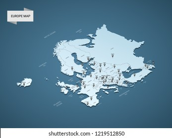 Isometric 3D Europe map,  vector illustration with cities, borders, capital, administrative divisions and pointer marks; gradient blue background.  Concept for infographic.