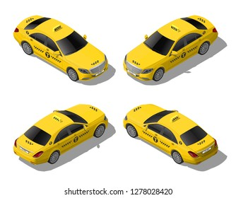 Isometric 3d flat yellow taxi car set. Business or VIP city transport service. High quality detailed vector illustration isolated on white background