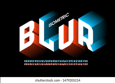 Isometric 3d font design with blur effect, three-dimensional alphabet letters and numbers, vector illustration