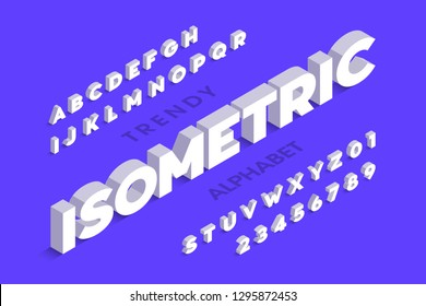 Isometric 3d font design, three-dimensional alphabet letters and numbers vector illustration