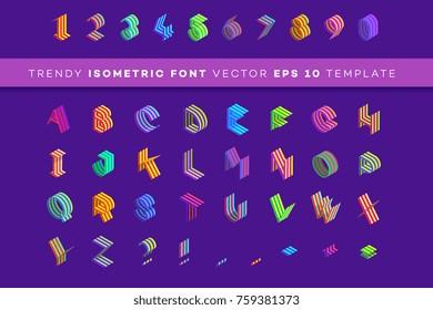 Isometric 3d Font. Modern Paper Style Design Element. Colorful Alphabet Template, Vector Illustration.
