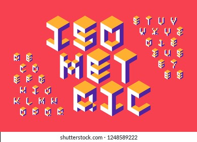 Isometric 3d font, three-dimensional alphabet letters and numbers vector illustration