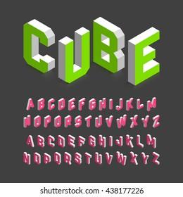 Isometric 3d font. Three-dimensional alphabet. Vector illustration.