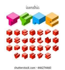 Isometric 3d font, three-dimensional alphabet.