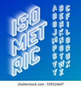 Isometric 3d font, three-dimensional alphabet letters. Vector illustration.