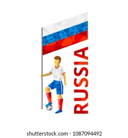 Isometric 3d football (soccer) player with ball and Russian flag. Cartoon athlete person isolated on white background. Standard bearer in red and blue.