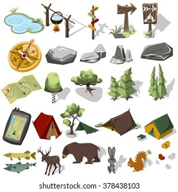 Isometric 3d forest hiking elements for landscape design. Tent and camp, tree, rock, wild animals. Navigation equpment. Vector illustration