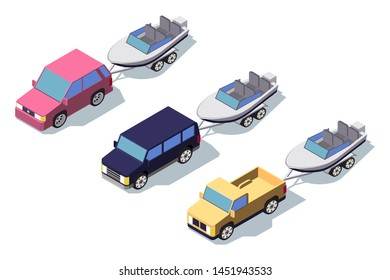 Isometric 3d front view classic pickup truck car with boat. Concept isolated vehicle, automobile, middle class machine. Low poly. Vector illustration.