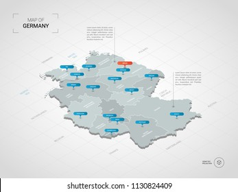 Isometric  3D Germany map. Stylized vector map illustration with cities, borders, capital Berlin, administrative divisions and pointer marks; gradient background with grid.