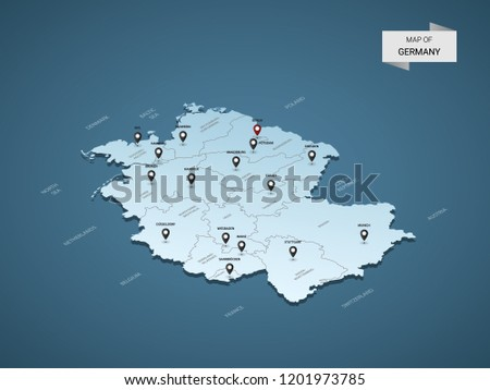 Capital Of Germany Map.Isometric 3 D Germany Map Vector Illustration Stock Vector Royalty