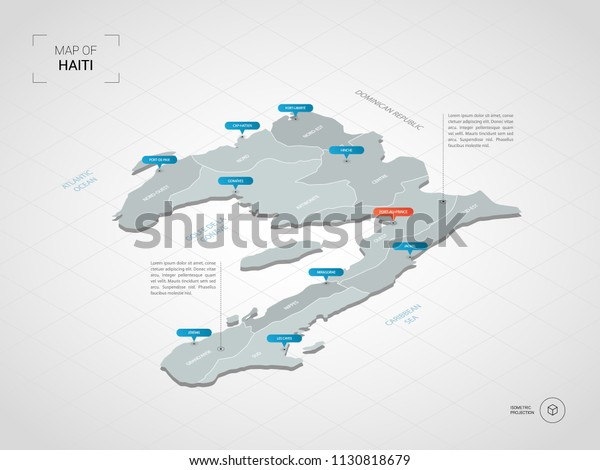 Isometric 3d Haiti Map Stylized Vector Stock Vector (Royalty Free ...