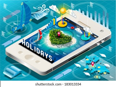 Isometric 3D Holidays Travel Infographic on Mobile Tablet Dreaming Vacations Sun Heart Island 3D Isometric Vector Mobile Infographic Illustration Travel Dream Holiday Application