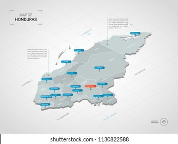 Isometric 3D Honduras map. Stylized vector map illustration with cities, borders, capital Tegucigalpa, administrative divisions and pointer marks; gradient background with grid.