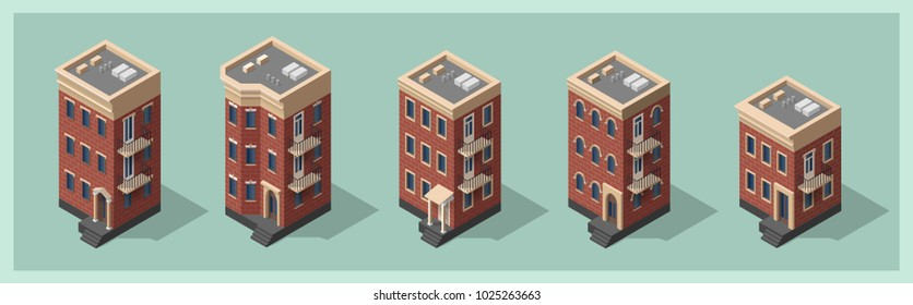Isometric 3d houses set. City, town buildings collection. Brick house icon. Architecture real estate, property and home, vector illustration. Isolated model in flat, cartoon style. Advertisement, game