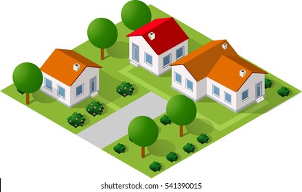 Isometric 3D icon house home. Residence building the city landscape three-dimensional vector symbol concept
