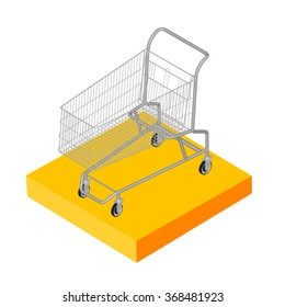 Isometric 3D icon. Pictograms supermarket trolley. Vector illustration eps 10.