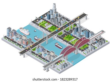 Isometric 3D illustration City with river embankment with people walking bridges, transport streets and ships