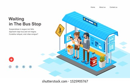 isometric 3D illustration of people, man and woman waiting bus or taxi in bus stop. creative web page template design or you can use the illustration for anything else. editable text, color and vector