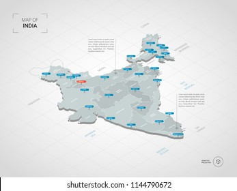 Isometric  3D India map. Stylized vector map illustration with cities, borders, capital New Delhi , administrative divisions and pointer marks; gradient background with grid.