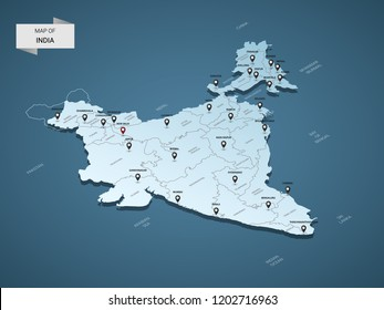 Isometric 3D India map,  vector illustration with cities, borders, capital, administrative divisions and pointer marks; gradient blue background.  Concept for infographic.
