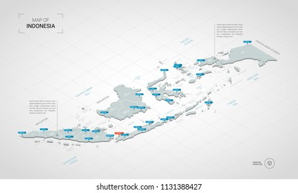 Isometric  3D Indonesia map. Stylized vector map illustration with cities, borders, capital Jakarta , administrative divisions and pointer marks; gradient background with grid.