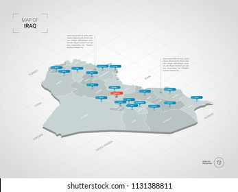 Isometric  3D Iraq map. Stylized vector map illustration with cities, borders, capital Baghdad , administrative divisions and pointer marks; gradient background with grid.