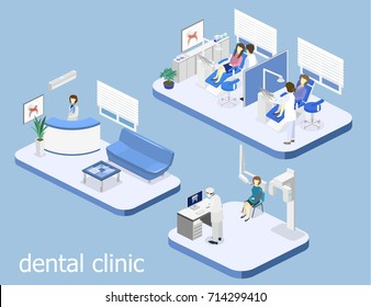 Isometric 3D isolated concept vector cutaway interior of a Dentistry waiting room. Dental Clinic. flat interior of dentist's office, Oral Radiology
