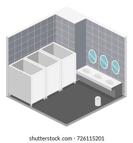 Isometric 3D isolated concept vector cutaway interior of public toilet
