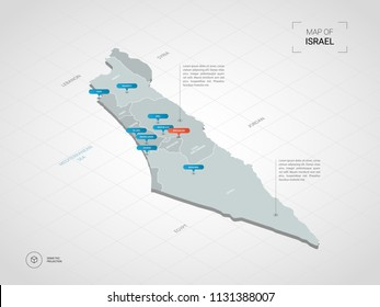 Isometric  3D Israel map. Stylized vector map illustration with cities, borders, capital Jerusalem , administrative divisions and pointer marks; gradient background with grid.