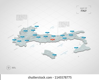 Isometric  3D Italy map. Stylized vector map illustration with cities, borders, capital Rome , administrative divisions and pointer marks; gradient background with grid.