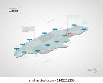 Isometric  3D Jamaica map. Stylized vector map illustration with cities, borders, capital Kingston , administrative divisions and pointer marks; gradient background with grid.