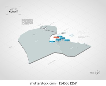 Isometric  3D Kuwait map. Stylized vector map illustration with cities, borders, capital Kuwait City , administrative divisions and pointer marks; gradient background with grid.