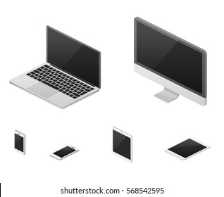 Isometric 3d laptop, tablet, smartphone, computer screen responsive web design vector elements. Set of device with flat screen, illustration of device for communication.