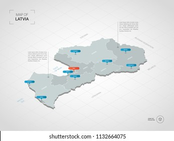 Isometric  3D Latvia map. Stylized vector map illustration with cities, borders, capital Riga , administrative divisions and pointer marks; gradient background with grid.